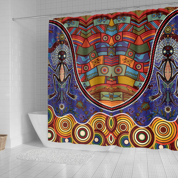 1stAustralia Shower Curtains - Shaman People and Animals Ornaments in Aboriginal Australian Style - BN17