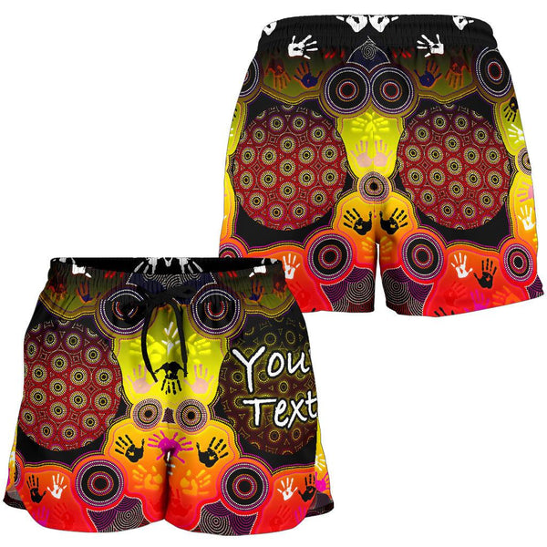 [Custom] 1stAustralia Aboriginal Women's Shorts, Indigenous Circle Dot Painting Hand Art