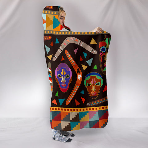 Australia Hooded Blanket Aboriginal Boomerangs With Masks TH1
