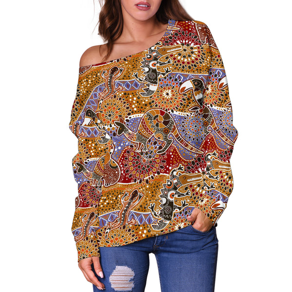 Australia Womens Off Shoulder Sweater Animals Aboriginal