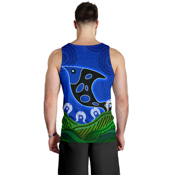 1stAustralia Men's Tank Top - Torres Strait Dot Patterns Fish