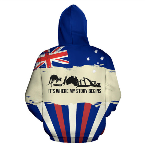 Image of Zip Up Hoodie Australia Its Where My Story Begins - Back - For Men and Women