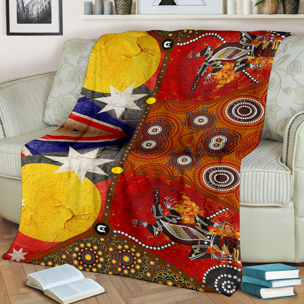 1stAustralia Premium blankets - Aboriginal Dot Painting & Flags, Crocodile