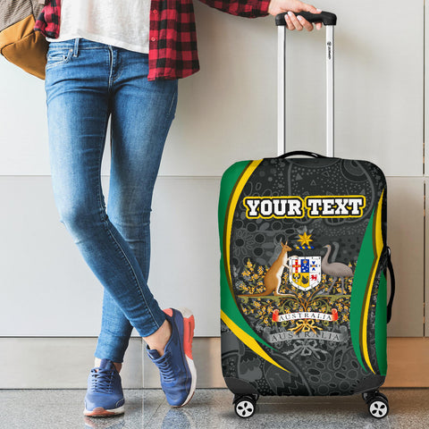 1stAustralia Personalised Luggage Cover  - Australia Coat of Arms Suitcase Cover Aussie Spirit (Green) - BN15