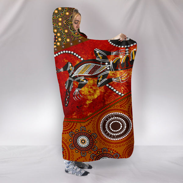 1stAustralia Hooded Blankets - Aboriginal Dot Painting & Flags, Crocodile