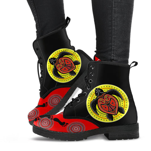 1stAustralia Leathers Boots - Aboriginal Dot Painting Boots Turtle