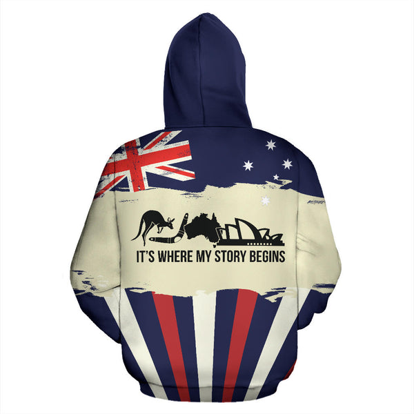 Australia Where My Story Begins with Navy color Hoodie - Back - For Men and Women