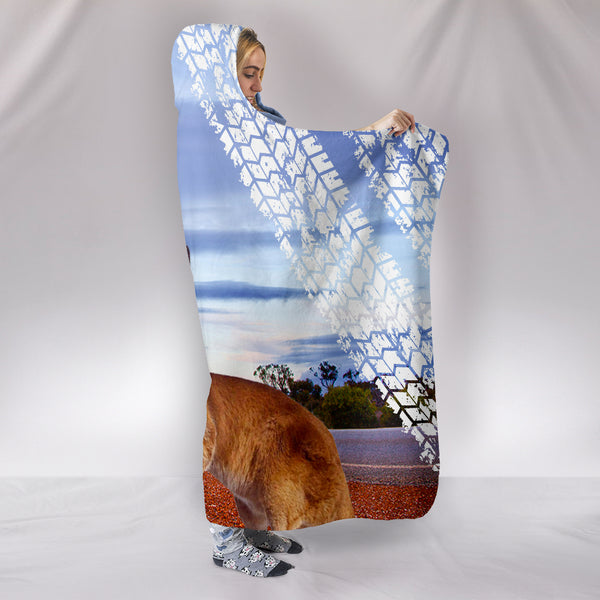 1stAustralia Hooded Blanket - Kangaroo Hooded Sign Landscape Art Blanket - Th1