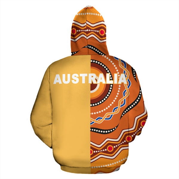 1stAustralia Aboriginal Zip Up Hoodie, Kangaroo Dot Painting Australia Patterns - Th3