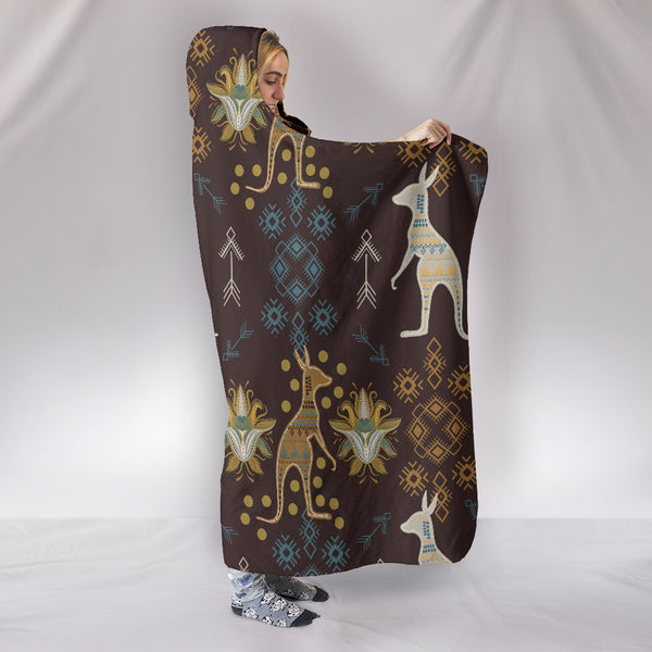 1stAustralia Aboriginal Hooded Blanket, Kangaroo Patterns Arrow- Th1