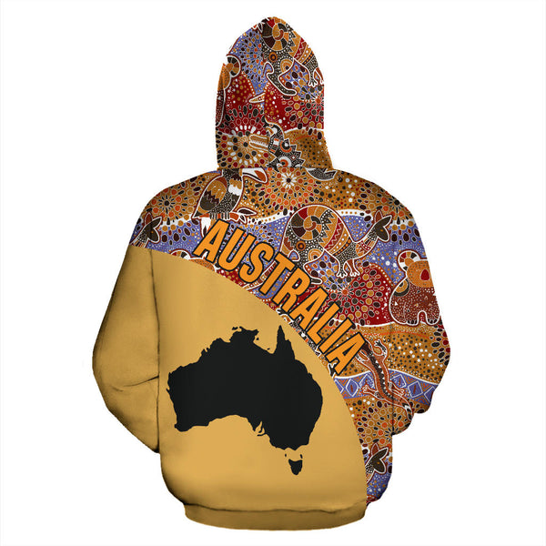 1stAustralia Aboriginal Hoodie, Australia Map Kangaroo Koala Crocodile Patterns - Th5