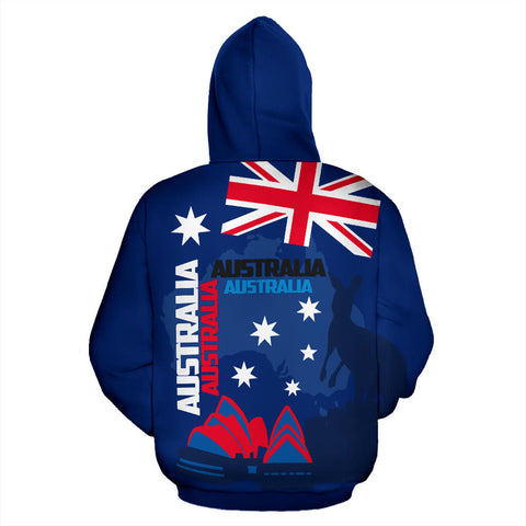 Image of Australia Hoodie Kangaroo Sydney Opera House Map Zip-Up Th5