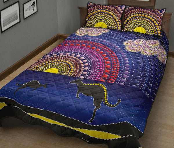 1stAustralia Aboriginal Quilt Bed Set - Sunset Over The Sea And Kangaroo Dot Painting - BN20