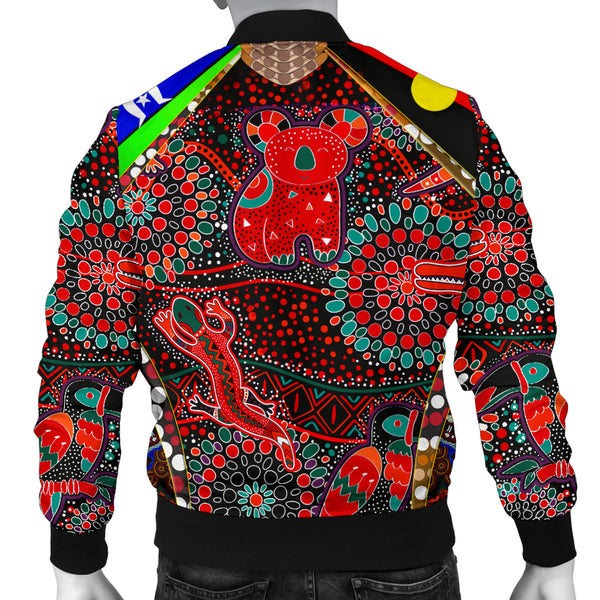 1stAustralia Men's Bomber Jackets - Aboriginal Animal & Dot Acrylic Paint - BN17