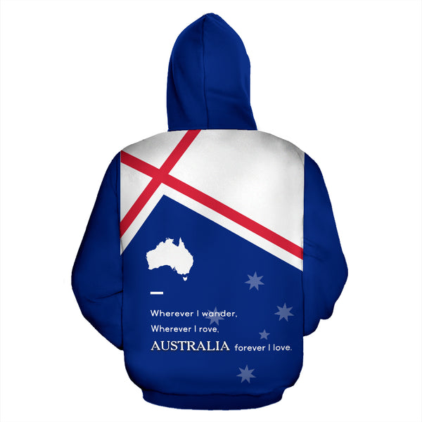 Australia Forever Hoodie with Blue color - Back - For Men and Women