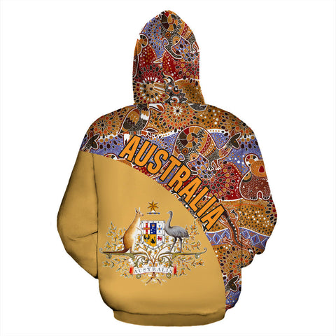 Image of Australia Hoodie Aboriginal Wave Coat Of Arms Zip-Up TH95