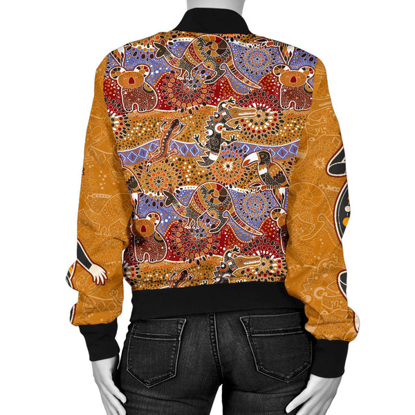 1stAustralia Bomber Jackets - Aboriginal Patterns Jacket Animal Art - Women - Bn14