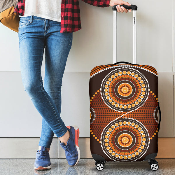 1stAustralia Luggage Cover - Aboriginal Dot Painting Suitcase Ver10 - Th1