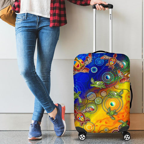 1stAustralia Aboriginal Luggage Covers, Turtle Art Ocean Galaxy Dot Painting