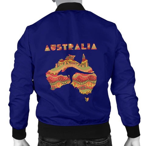 Australia Mens Bomber Jacket Aboriginal Map With Kangaroo TH1