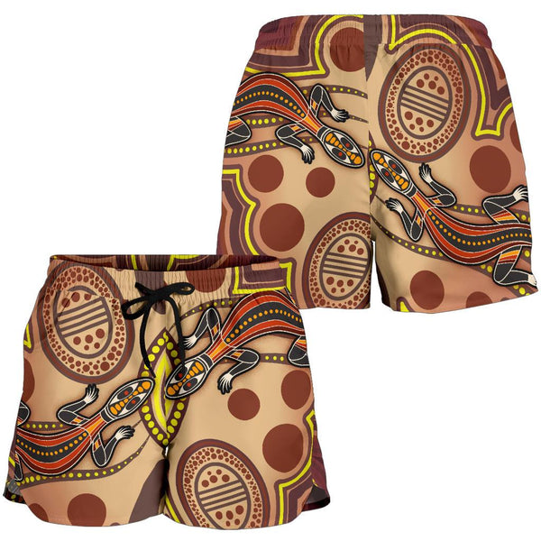 1stAustralia Aboriginal Women's Shorts, Indigenous Lizard Dot Painting Art
