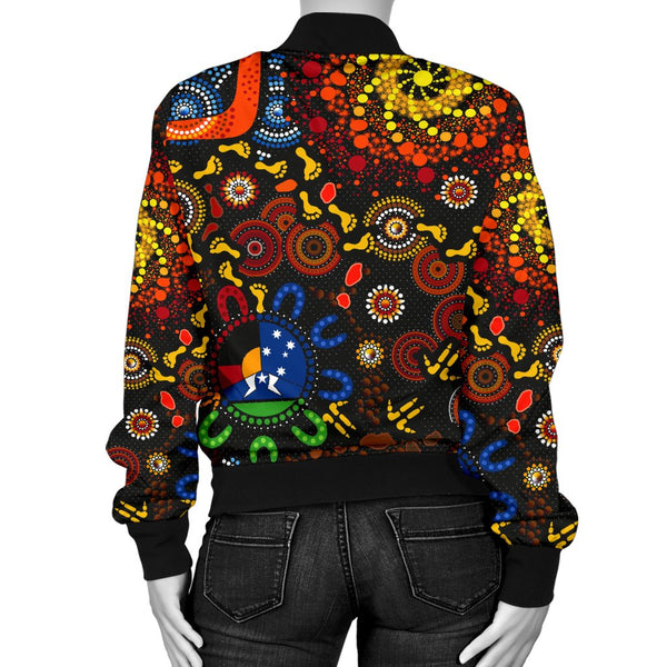 [Custom Text] 1stAustralia Aboriginal Women's Bomber Jacket - Indigenous Footprints