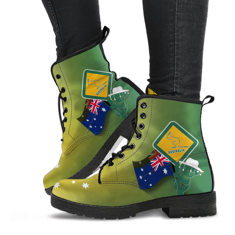 1stAustralia Leather Boots - Aus Flag and Coat Of Arms Boots Kangaroo and Koala Sign