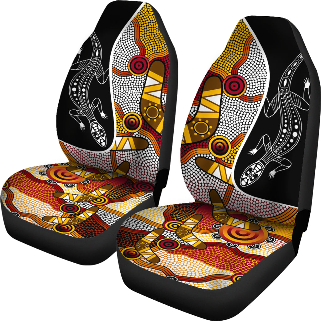 1stAustralia Car Seat Covers - Aboriginal Dot Painting Lizard Seat Covers