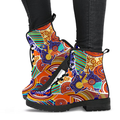 1stAustralia Aboriginal Leather Boots - Australian Map Dot Painting