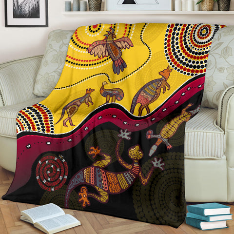1stAustralia Aboriginal Premium Blanket - Indigenous Animals Life Art