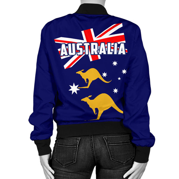 Australia Flag Womens Bomber Jacket Kangaroo Back