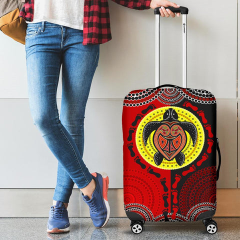 1stAustralia Luggage Covers - Aboriginal Dot Painting Luggage Covers Turtle