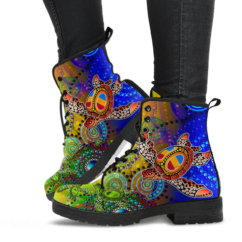 1stAustralia Aboriginal Leather Boots, Turtle Art Ocean Galaxy Dot Painting