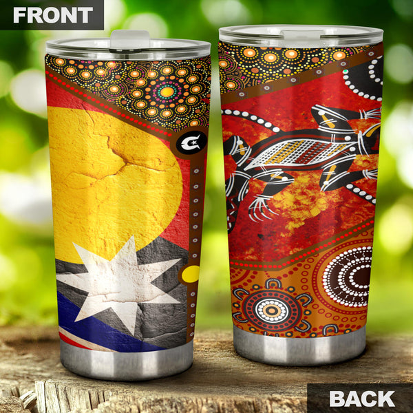 1stAustralia Tumbler - Aboriginal Dot Painting & Flags, Crocodile