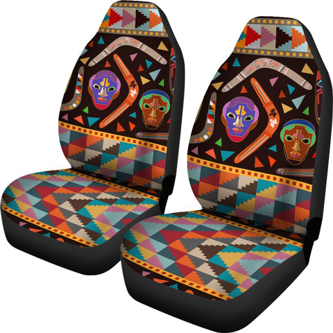 Australia Car Seat Cover Aboriginal Boomerangs With Masks TH1