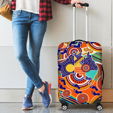1stAustralia Aboriginal Luggage Covers - Australian Map Dot Painting