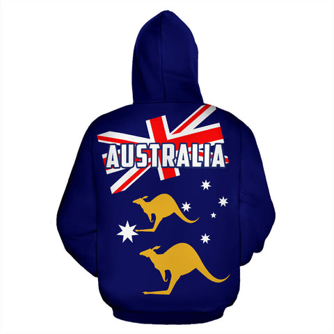 Australia Flag Zip-Up Hoodie Kangaroo TH9