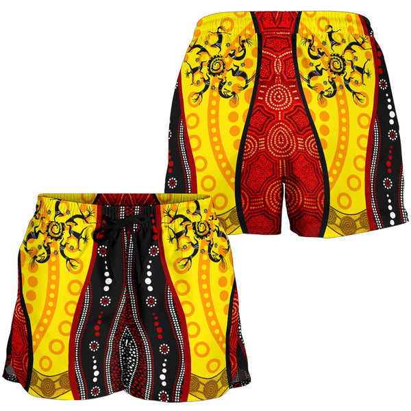 1stAustralia Aboriginal Women's Short - Dreamtime Koori Dance & Dot Acrylic Paint - BN17