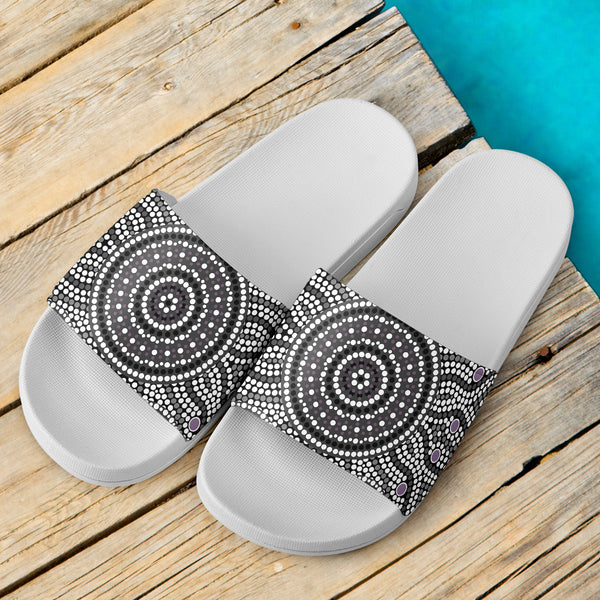 1stAustralia Aboriginal Slide Sandals, Aboriginal Patterns Ver02 (White)