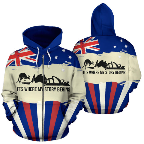 Zip Up Hoodie Australia Its Where My Story Begins - Front and Back - For Men and Women