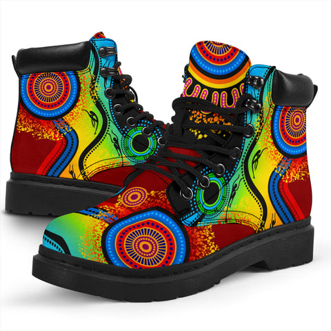 1stAustralia Aboriginal All-season Boots, Flowers Circle Dot Painting Blue Dream