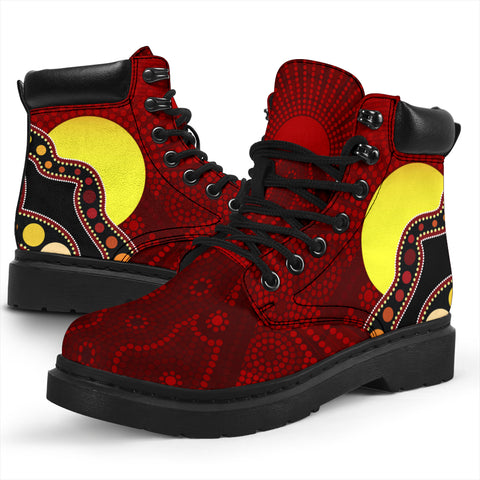 1stAustralia Aboriginal All-season Boots - Australia Indigenous Flag Circle Dot Painting Art