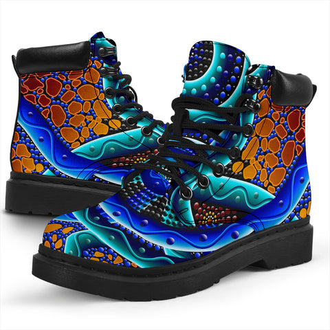 1stAustralia All-Season Boots - Aboriginal Painting Boots Blue RiverDot Painting Art