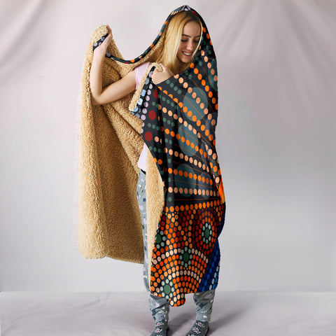 Image of Australia Aboriginal The Man Playing Digeridoo Hooded Blanket TH1