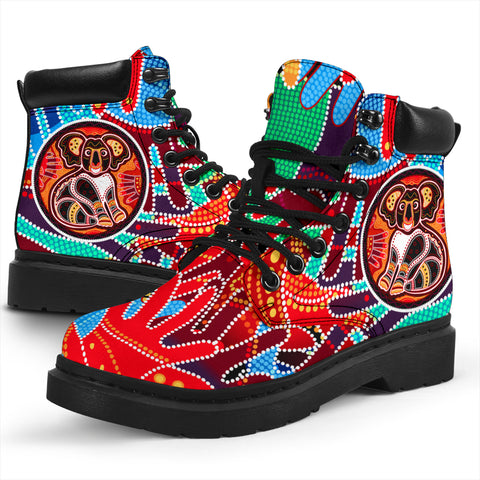 1stAustralia Aboriginal All-Season Boots, Koala and Hand Art Dot Painting Boots