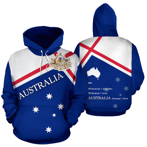 Australia Forever Hoodie with Blue color - Front and Back - For Men and Women