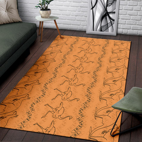 Australia Area Rug Kangaroo And Ostrich With Boomerang TH1