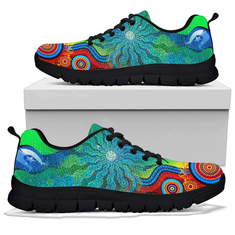 1stAustralia Sneakers - Torres Strait Islanders Flag with Aboriginal Patterns Shoes