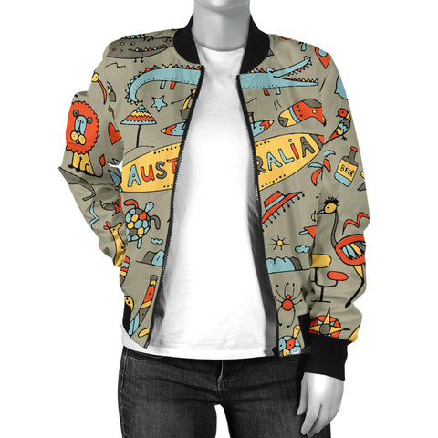Australia Womens Bomber Jacket Symbols TH1