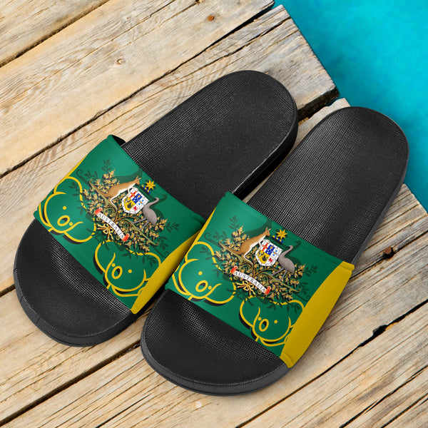 1stAustralia Slide Sandals - Australian Coat Of Arms and Koala (Black)